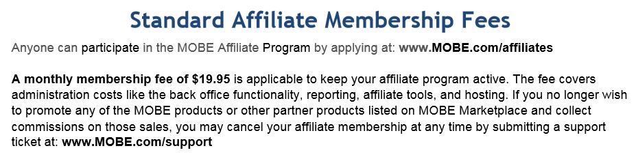 MOBE membership fees