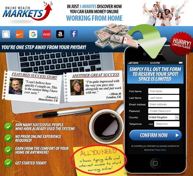 online wealth market scam