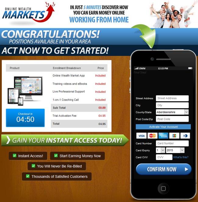 online wealth markets scam