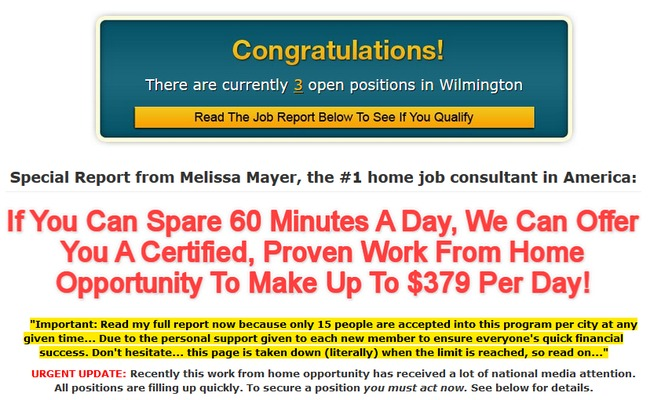 work at home page scam