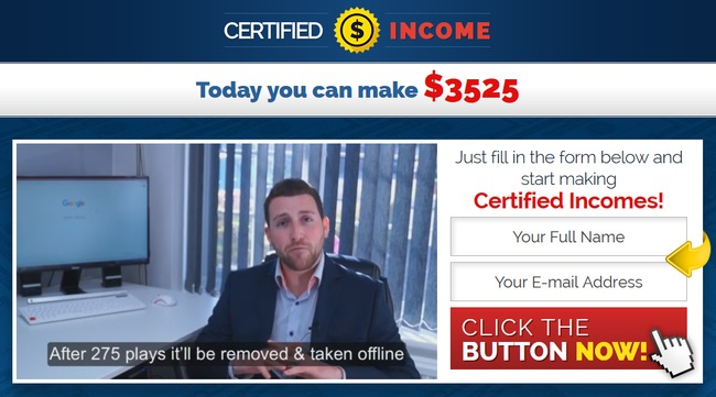 certified income scam