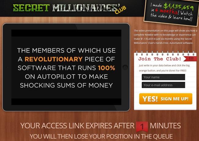 secret millionaires club scam