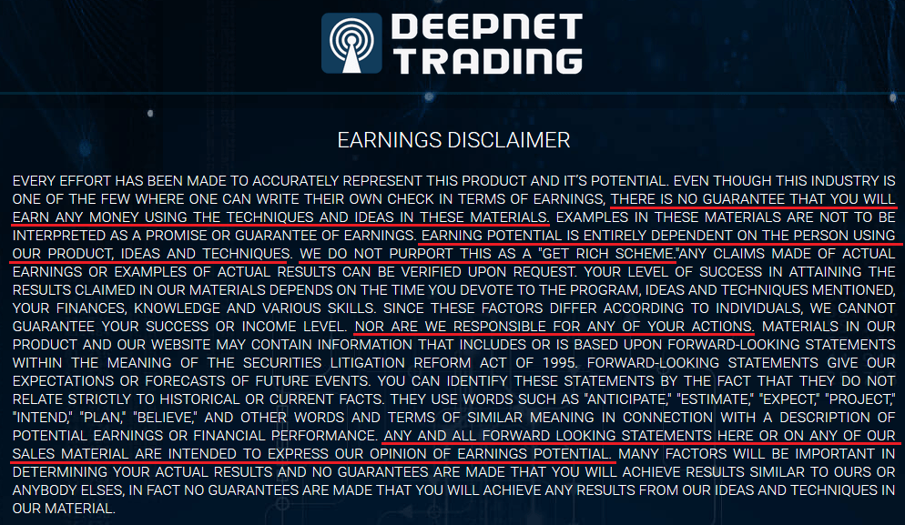 deepnet trading scam