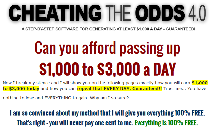 cheating the odds 4.0 scam review