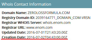 whois information of zero loss formula