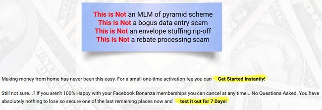 facebook bonanza scam review