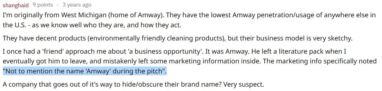 amway comment