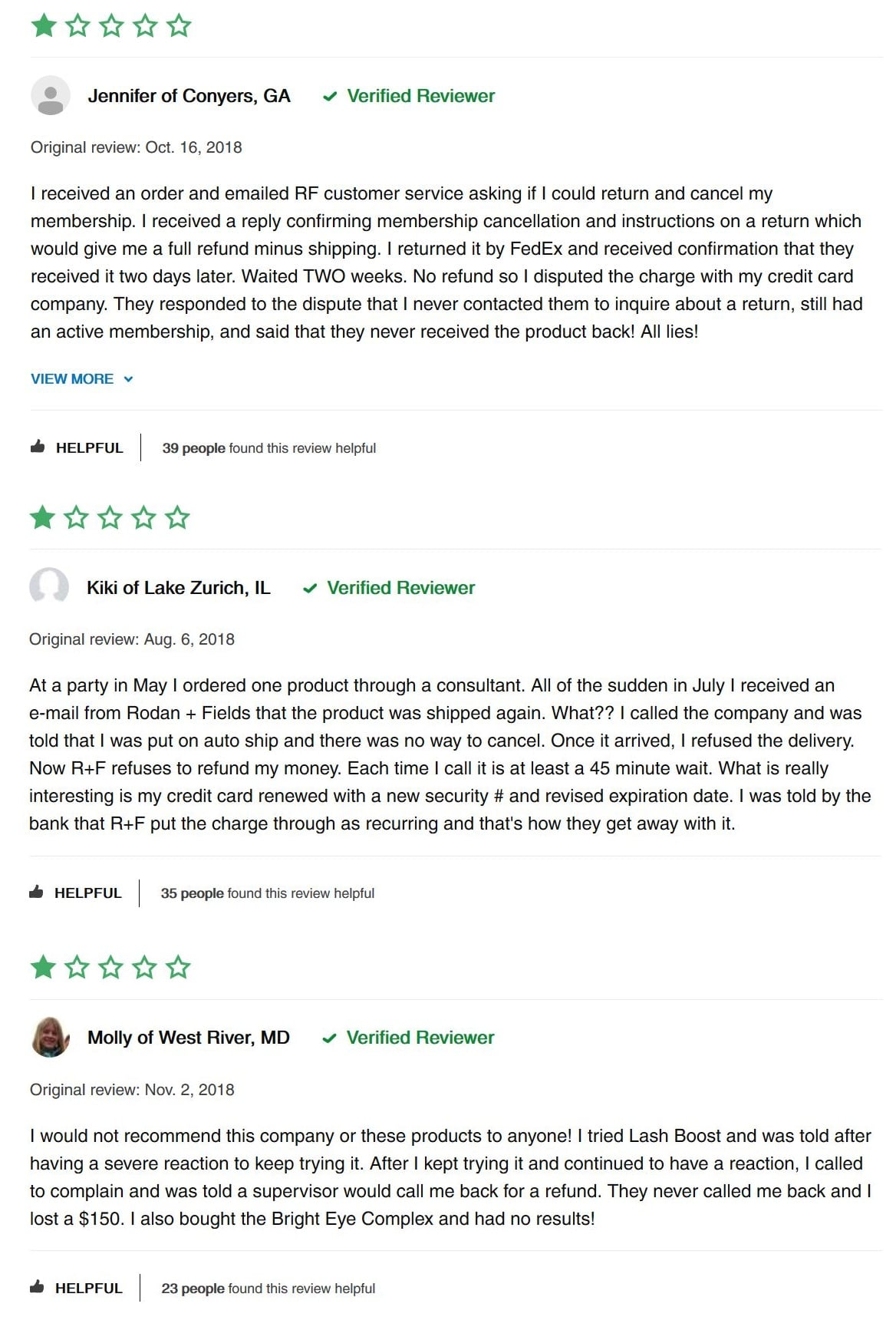 rodan and fields negative reviews