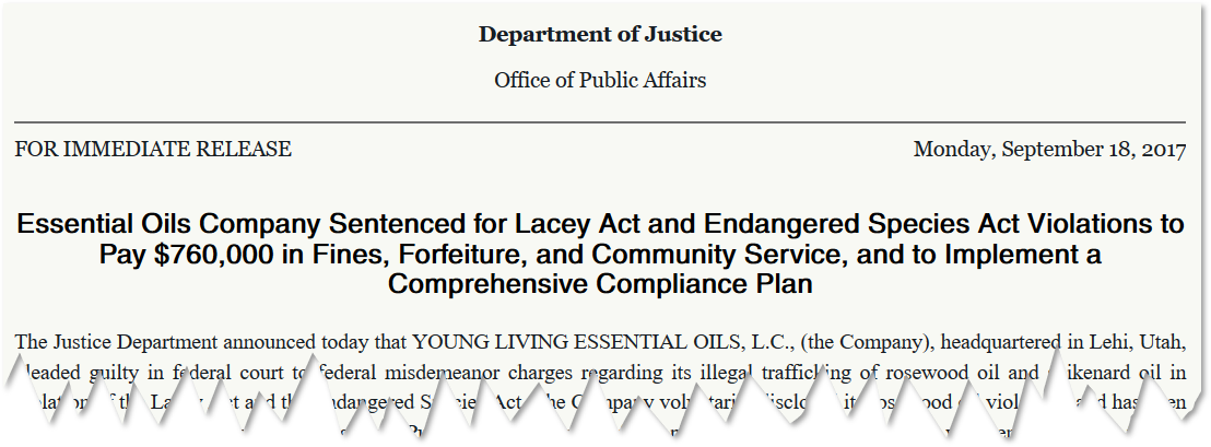 young living department of justice fine